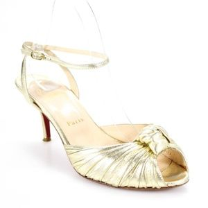 Christian Louboutin Gold Pleated Pumps - Size 38.5